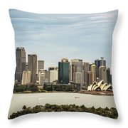 Skyline Of Sydney Downtown  Viewed From Taronga Hill, Australia Throw Pillow
