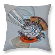skyline of Uptown charlotte mini planet in winter Throw Pillow