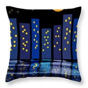 Skyline Reflections Throw Pillow