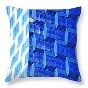 Skyscraper Blue Throw Pillow