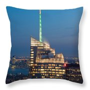 Skyscraper Lit Up At Night, One World Throw Pillow