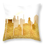 Skyscrapers - Panorama Of Modern Skyscraper Town Throw Pillow