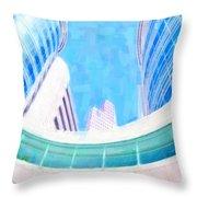 Skyscrapers Against Blue Sky Throw Pillow