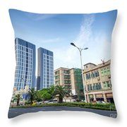 Skyscrapers And Road In Downtown Xiamen City China Throw Pillow