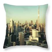 Skyscrapers Of Dubai At Sunset Throw Pillow