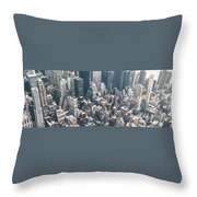 Skyscrapers View From Above Building 83641 3840x1200 Throw Pillow