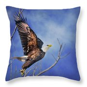 Skyward - Bald Eagle Throw Pillow