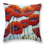 Skyward Poppies Throw Pillow
