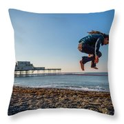 Slacklining On Aberystwyth Beach Throw Pillow