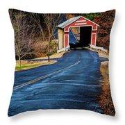 Slate Covered Bridge Throw Pillow