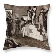 Slave Auction In Virginia Throw Pillow by Photo Researchers