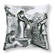 Slave Auction Throw Pillow by Photo Researchers