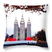Slc Temple Red And White Throw Pillow by La Rae  Roberts