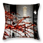 Slc Temple Red White N Black Throw Pillow by La Rae  Roberts