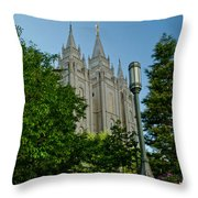 Slc Temple Walk Throw Pillow by La Rae  Roberts