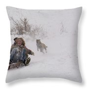 Sled Before The Dogs? Throw Pillow