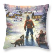Sledding To The Village Throw Pillow
