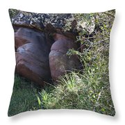 Sleeping In The Jungle - Stone Face In Forest Throw Pillow