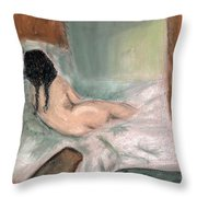 Sleeping In The Nude Throw Pillow