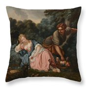 Sleeping Maiden In A Woodland Landscape Throw Pillow