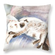 Sleeping Together Throw Pillow