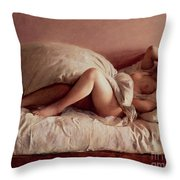 Sleeping Woman Throw Pillow by Johann Baptist Reiter