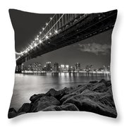 Sleepless Nights And City Lights Throw Pillow by Evelina Kremsdorf