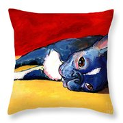 Sleepy Boston Terrier Dog  Throw Pillow