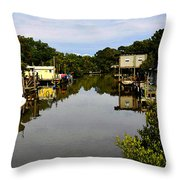 Sleepy Cedar Key Florida Throw Pillow