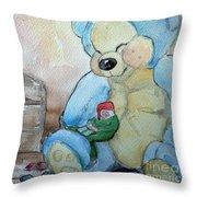 Sleepy Gnome Throw Pillow