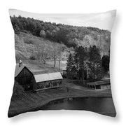 Sleepy Hollows Farm Woodstock Vermont Vt Pond Black And White Throw Pillow