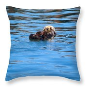 Sleepy Otter Throw Pillow