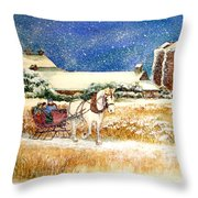 Sleigh Ride At Brickers Throw Pillow