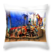 Slice Of Life Milkman Blue City Houses India Rajasthan 1a Throw Pillow