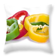 Sliced Colorful Peppers Throw Pillow