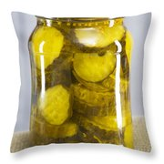 Sliced Pickles In Clear Glass Jar Throw Pillow