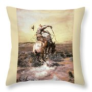 Slick Rider Throw Pillow by Charles Russell