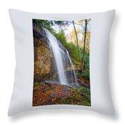 Slick Rock Falls, A North Carolina Waterfall In Autumn Throw Pillow