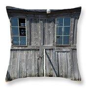 Sliding Barn Doors With Windows Throw Pillow