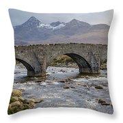 Sligachen Bridge And The Black Cullin, Isle Of Skye Throw Pillow