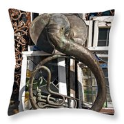 Slightly Worn Out Vintage Tuba Seeks New Home Throw Pillow