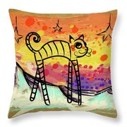 Slinky Cat Throw Pillow