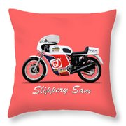 Slippery Sam Production Racer Throw Pillow