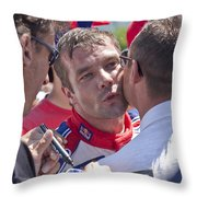 S.loeb 2 Minutes After Winning Wrc Rally Bulgaria 2010 Throw Pillow
