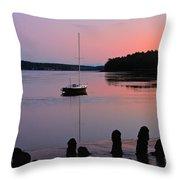 Sloop Sunset Throw Pillow