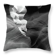 Slot Canyon Black And White Throw Pillow