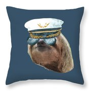 Sloth Aviator Glasses Captain Hat Sloths In Clothes Throw Pillow