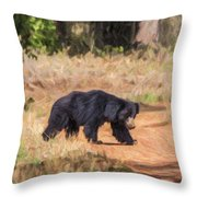 Sloth Bear Melursus Ursinus Throw Pillow