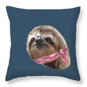 Sloth Black Glasses Red Scarf Sloths In Clothes Throw Pillow
