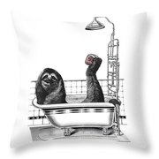 Sloth In Bathtub Taking A Shower Throw Pillow